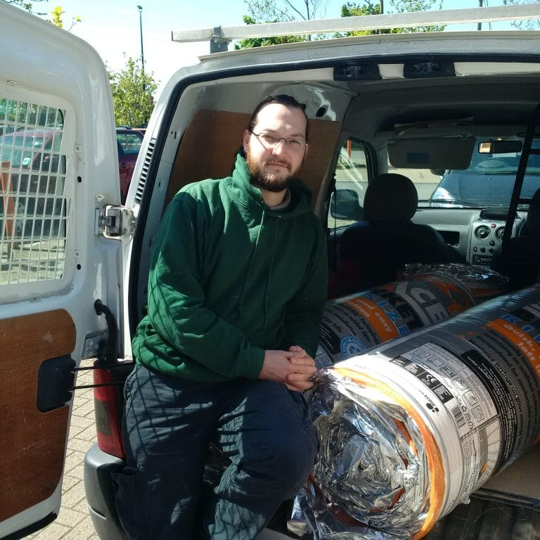 Man in van with insulation